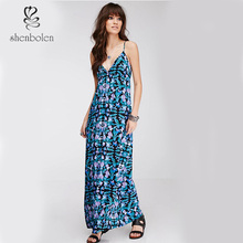 Braces Floral Printing Long Dresses Maxi Fashion Style for Ladies M6095