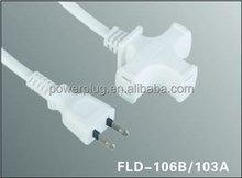 wholesale 2 flat pin PSE JET approval white color japanese power cable plug for house