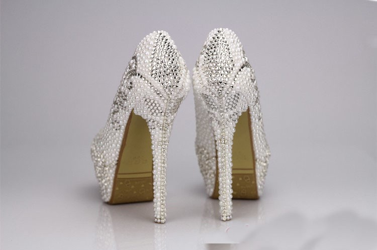 2016 New Style High Heel  White Pearl wedding shoes Rhinestone Crystal  shoes Party Ball Prom Shoes for Wedding  Party