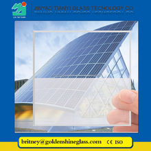 Jinyao 3.2mm 4mm Low iron ultra clear solar panel glass price list/ photovoltaic glass