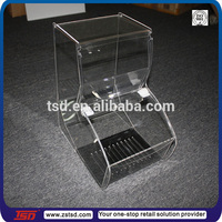TSD-A135 factory custom high quality acrylic coffee bean dispenser/plastic cereal dispenser/acrylic candy bar display