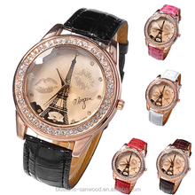 Womens Girl's Champagne Dial Lovers Lips Eiffel Tower Analog Quartz Wrist Watch