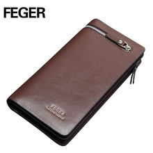Hot Sale Feger Genuine Leather Men's Cell Phone Clutch Wallet Purse