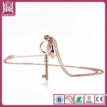 charming key LOVE design stainless steel jewelry necklace rose gold