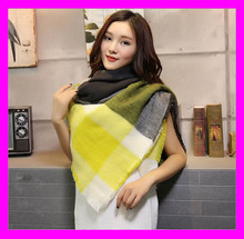 Newest hot selling wholesale ladies fashion square pattern knit scarf HD4611
