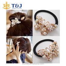 >>> 2015 Brand Hot Selling Butterfly Bungees Chic Pearl Bands Women Hair Accessories elastic hair ropes Free Shipping Wholesale
