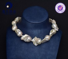 Latest fashion baroque pearl necklace large bulk pearls necklace jewelry