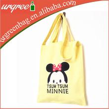 fashion yellow tote shopping canvas bag