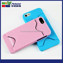 mobile phone Hard Plastic Case with card holder case for iphone 5 5s .for plastic iphone case with card slot