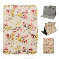 Pretty Flower Design Flip Stand with Magnetic Button PU Leather Covers Cases For Universal 7inch IOS/Android Tablets PC