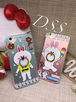 Brown cony ring holders for mobile phone iPhone 6s tpu case