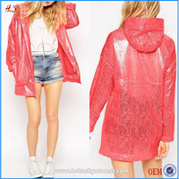 Hot sale cheap price women red bonded lace trench coat style lady pvc raincoat design rain coat