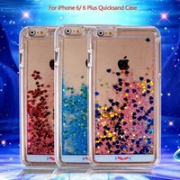Customized Hot Sale New 2015 Transparent Creative Liquid QuickSand Glitter Stars Back Case Cover For Iphone 6/6 Plus