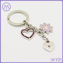 Heart crystal zinc alloy keychain