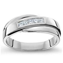 Perfect CZ Stones Pave White Gold Ring Men