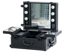 2014 hot sale makeup case with lights/makeup case with lighted mirror