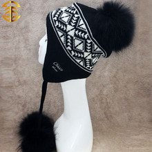 Piel auténtica gorra con borla con estilo ruso de la gorrita tejida de piel de mapache verdadero Bobble Pom