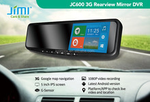 5''HD touch screen JIMI android 4.2 wifi rearview mirror gps tracker wifi bluetooth