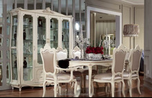 JLB053 romatic Vitoria queen elegant ivory white solid wood 1.6m 6 chairs dining table antique rococo dining room furniture set