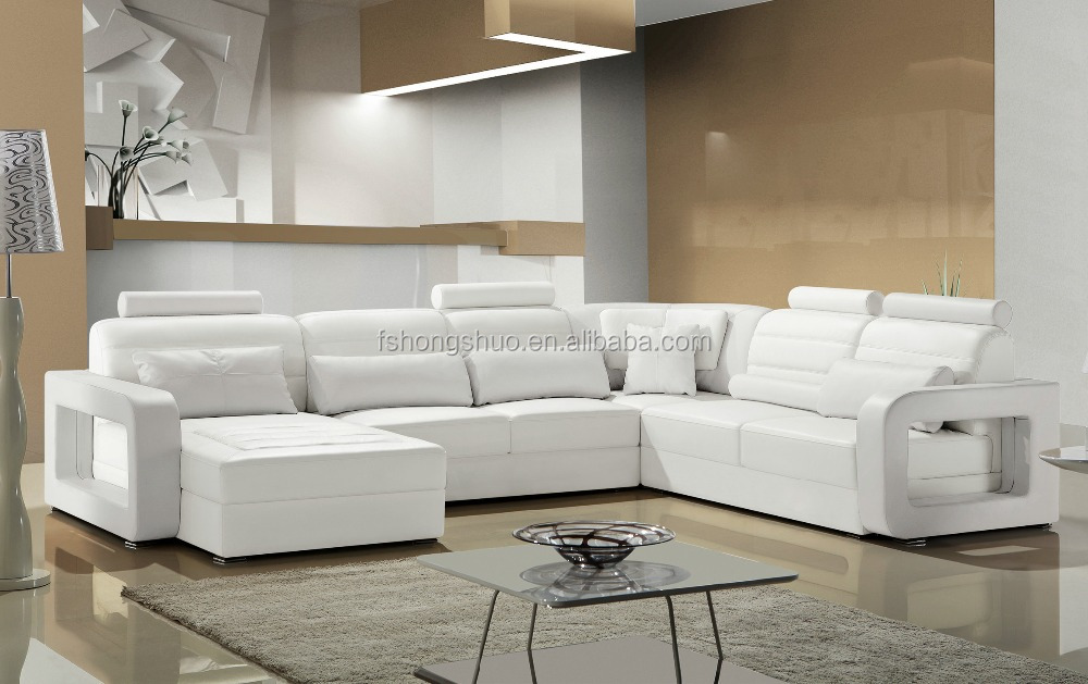 Luxury Living Room Over Size Modular Furniture Modern Leather Chaise Corner Couch Pure White