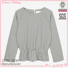 Back zipper open and waist with elastic women elegant blouses