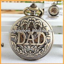 Old Vintage Antique Style Skeleton Cheap Mechanical Pocket Watch For DAD MA146