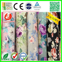 customized wholesale big flower print chiffon dress fabric