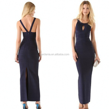 Modern Scoop Neckline Sheath Ankle Length Open Back 2015 Fashion Elegant Open Leg Party Long Evening Dress Patterns (MAE0105)