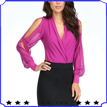 long sleeve wrap bodysuit 2013 newest ladies casual elegant chiffon tops and blouses party dress tops