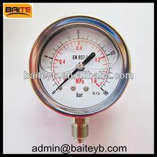 stainless steel case &brass internal &liquid filled pressure gauge