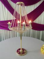 wedding table decoration crystal vase/crystal tall flower vases/led flower vase light wedding table with battery