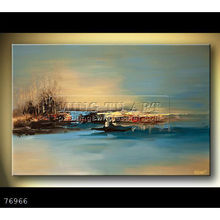 Handmade impressionist palette knife abstract oil painting on canvas,an island