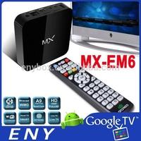E-M6 MX Android TV Box Midnight MX2 XBMC Fully TV Killer Android 4.2 XBMC Midnight Preinstalled Amlogic 8726-MX MX XBMC TV Box