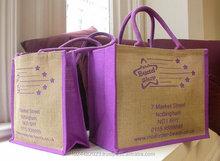 customized OEM welcom fashion cotton rope handle eyelet lamination polypropylene jute tote shopping bag