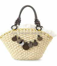 Stylish pure color plastic straw beach bag beach tote bag beach towel bag