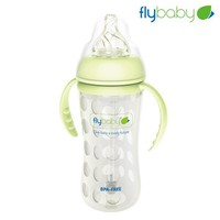 Flybaby new silicone nipple feeding bottle glass baby bottle