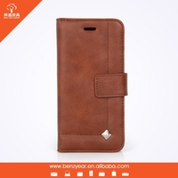 Hot sell fashion oil waxed leather cell phone case for iphone with card slots