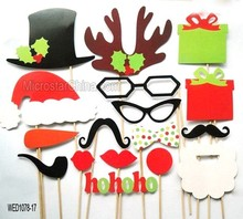 New products christmas party supplies photo booth props - 17pcs felt on a stick