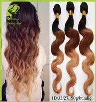 Colored Three Tone Ombre Brazilian Human Hair Weave Wet and Wavy