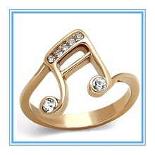 Rose Gold Plated Stainless Steel Ring Musical Note Fashion Women's Size 5-10