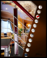 HR1377 850mm-1200mm height interior removable stair handrails of stairs wood baluster design