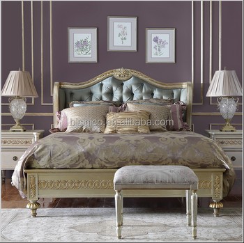 French Style Reproduction Bedroom Furniture Set Replica Design Button Tufted Golden Fabric