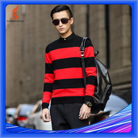 Computer Knittted, OEM Service, 2015 Knitting Mens College Red Black Striped Sweater