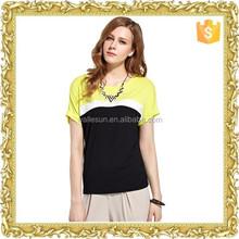 Ladies women summer short sleeve cotton mixed color t shirt custom
