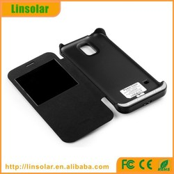 For samsung 19600 galaxy s5 extended battery charger leather flip battery case 3200mAH