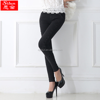 Newest hot sale women cotton trouser for girl lady pant tight casual pants black ,blue trousers
