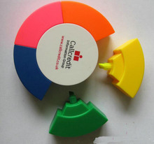 round shape multicolor highlighter pen