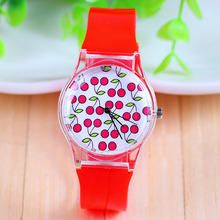 New Arrival Jelly Silicone Cherry Candy Quartz Watch Plastic Women Dress Watches Red Color Silicon Band