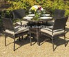 outdoor furniture PE rattan dining chairs and table set 4-seating chair stackable
