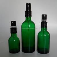 30ml 50ml 100ml 150ml 200ml Long neck green cosmetic lotion glass bottle black spray bottle